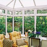 conservatory with leaded glass